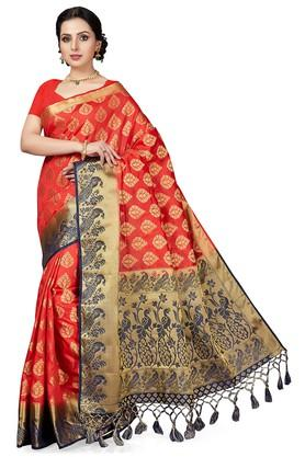 ISHINWomens Gold Woven Saree With Blouse Piece - 204668454_8310