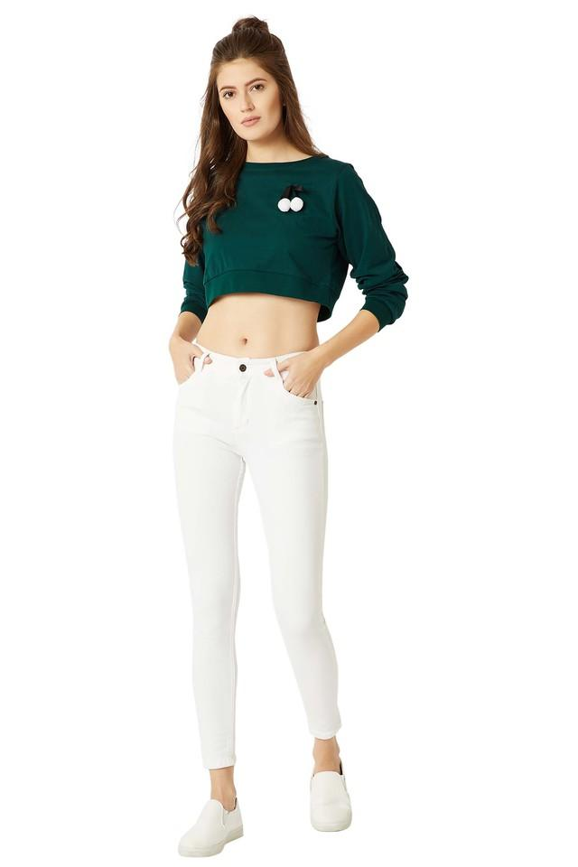 Womens Round Neck Solid Pompom and Twill Tape Boxy Crop Top