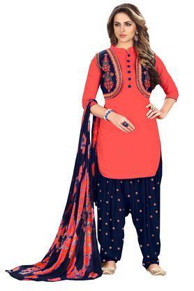 DEMARCAWomens Glaze Cotton Designer Unstitched Patiyala Dress Material - 204100042_9508