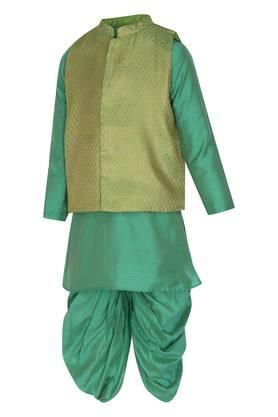 Boys Band Neck Printed Jacket Solid Kurta and Dhoti Set