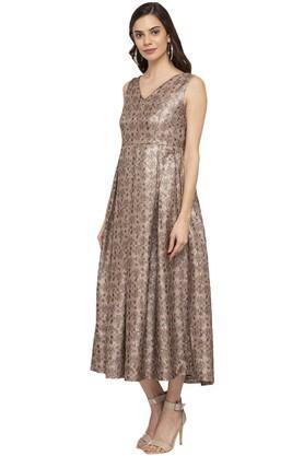 Womens V- Neck Printed Knee Length Dress