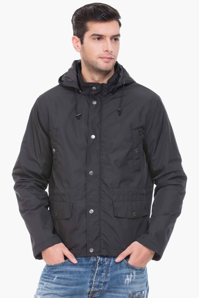 Mens Regular Fit Hooded Solid Jacket