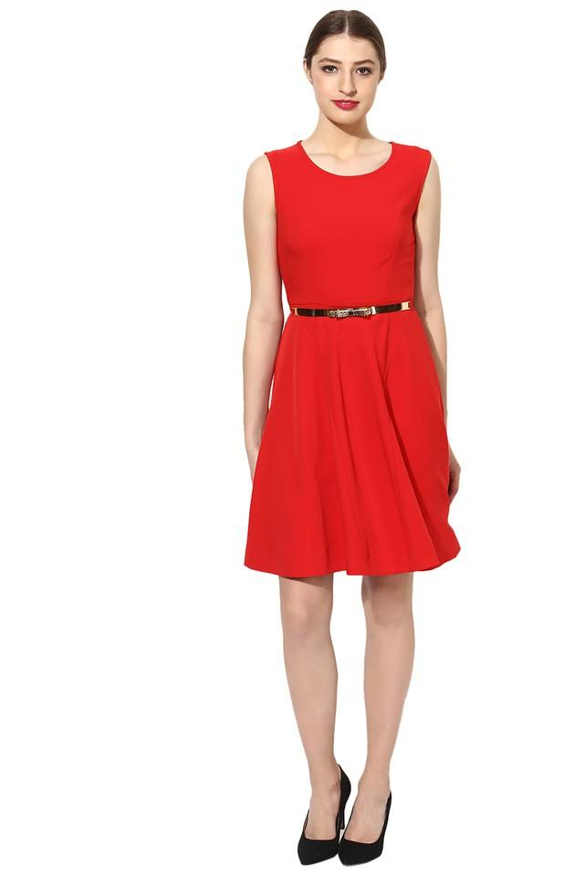 Womens Round Neck Solid Skater Dress