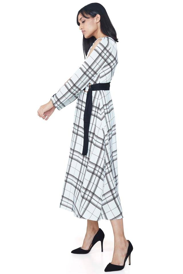 Womens Round Neck Check Midi Dress