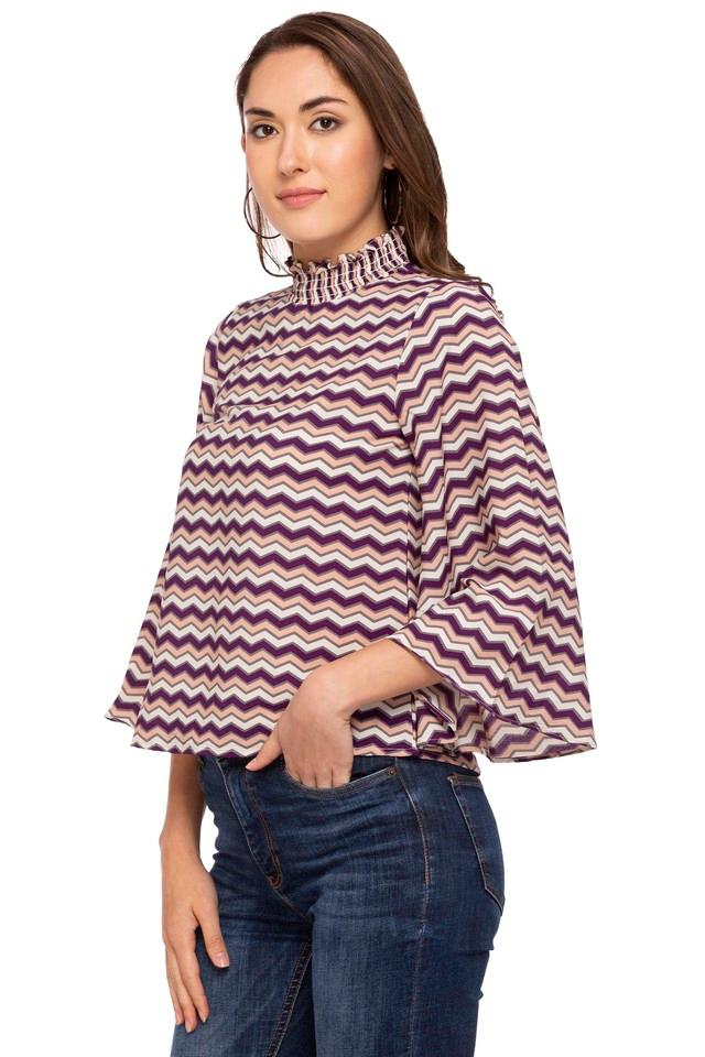 Womens Band Neck Stripe Top