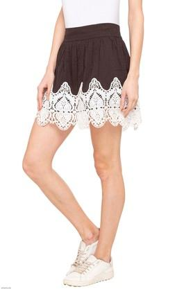 Womens Solid Lace Skirt