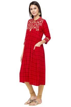 Womens Collared Check Midi Dress