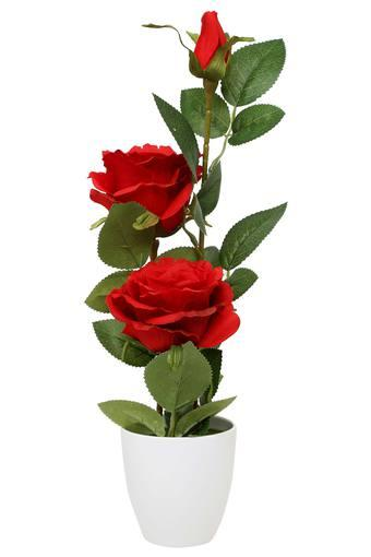 Rose Bloom Potted Artificial Flowers