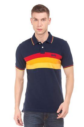 Mens Regular Fit Colour Block Polo T-Shirt