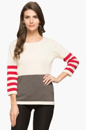 STOPWomens Round Neck Colour Block Sweater