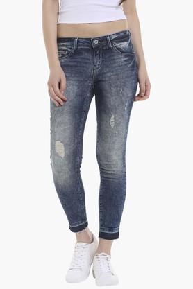 Womens 5 Pocket Stone Wash Jeans