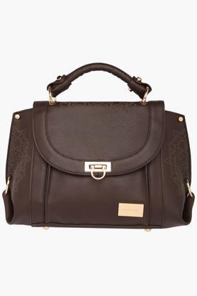 SATYA PAUL Womens Metallic Lock Closure Satchel Handbag
