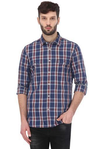 Mens Contemporary Fit 2 Pocket Checked Shirt