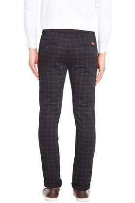 Mens Slim Fit 5 Pocket Checked Chinos
