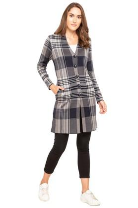 APSLEY Womens V-Neck Checked Cardigan