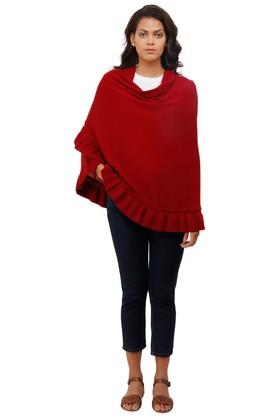 Womens Open Front Solid Poncho