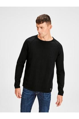 JACK AND JONESMens Round Neck Solid Pullover