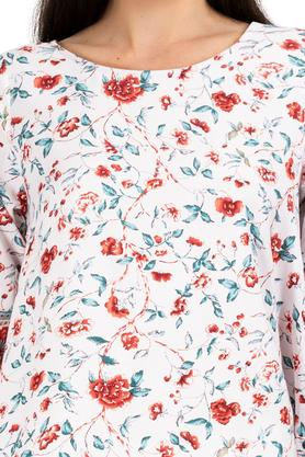 Womens Round Neck Floral Printed Dipped Hem Top