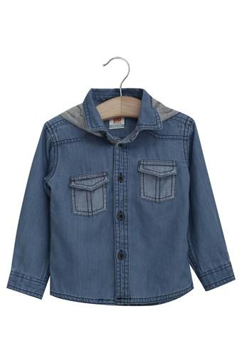 Kids Collared Solid Casual Shirt