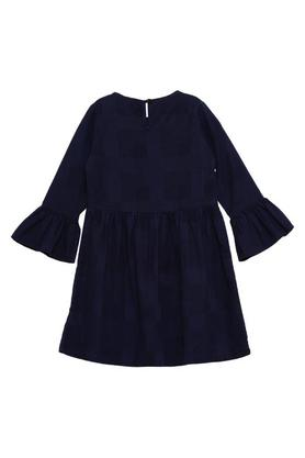 Girls Round Neck Embroidered A-Line Dress