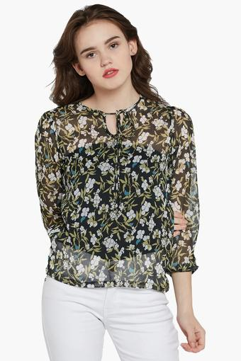 Womens Key Hole Neck Printed Top