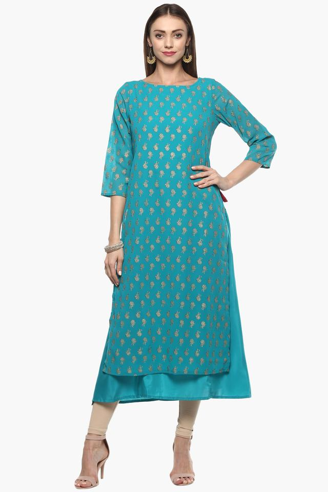 Womens Round Neck Printed Layered Kurta