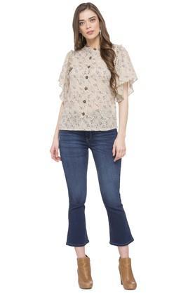 Womens Mandarin Collar Floral Print Shirt