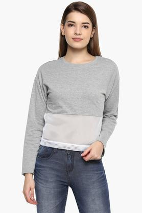 68ab5e7e6 X NUSH Womens Round Neck Solid Sweatshirt