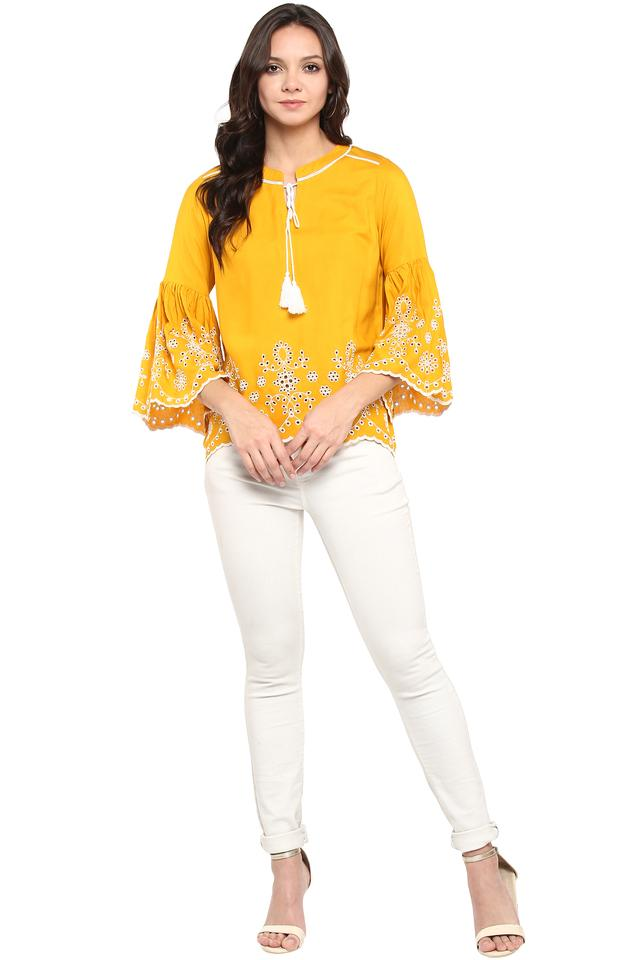 Womens Tie Up Neck Perforated Top