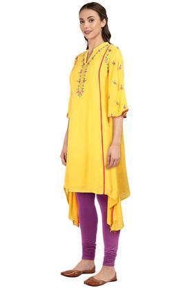 Womens Mandarin Collar Solid Embroidered Asymmetric Kurta