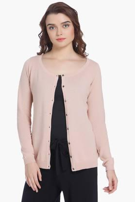 VERO MODA Womens Round Neck Solid Cardigan