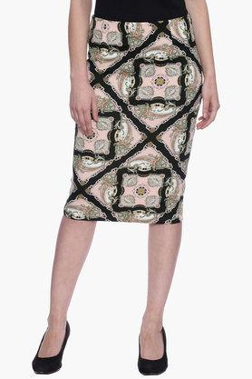EVAH LONDON Womens Printed Knee Length Straight Skirt