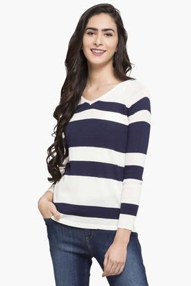 FEMINA FLAUNTWomens V Neck Stripe Sweater