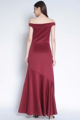Womens Off Shoulder Solid Maxi Dress