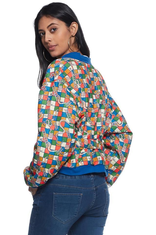 Womens Surplice Neck Printed Jacket