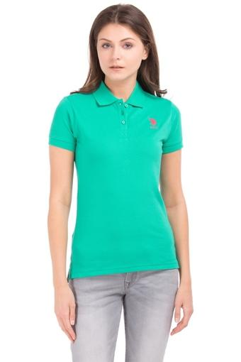 Womens Solid Polo T-Shirt