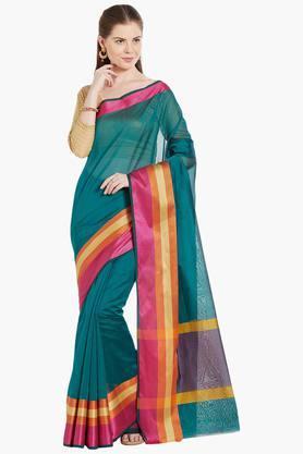 JASHNWomens Colorblocked Border Artsilk Saree
