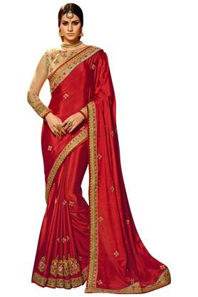 VRITIKA Womens Red Chinon Designer Saree With Blouse