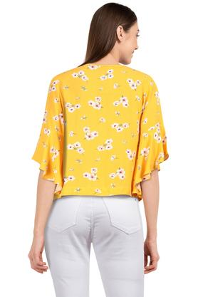 Womens Round Neck Floral Print Top