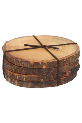 BACK TO EARTH Round Textured Merbau Wooden Coasters Set Of 4