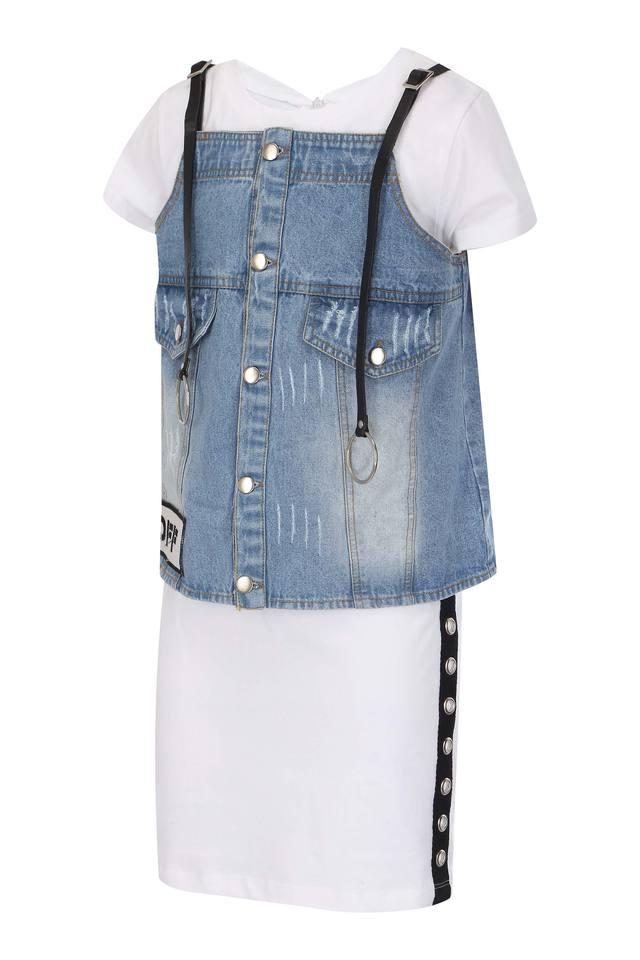 Girls Round Neck Solid Top with Jacket