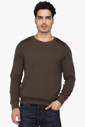 WROGNMens Round Neck Solid Sweatshirt