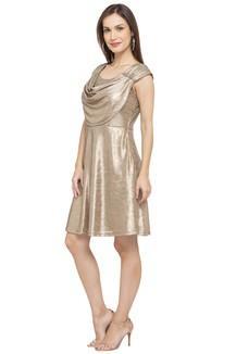 ad9e0bc7af Buy MINERAL Womens Cowl Neck Shimmer Skater Dress