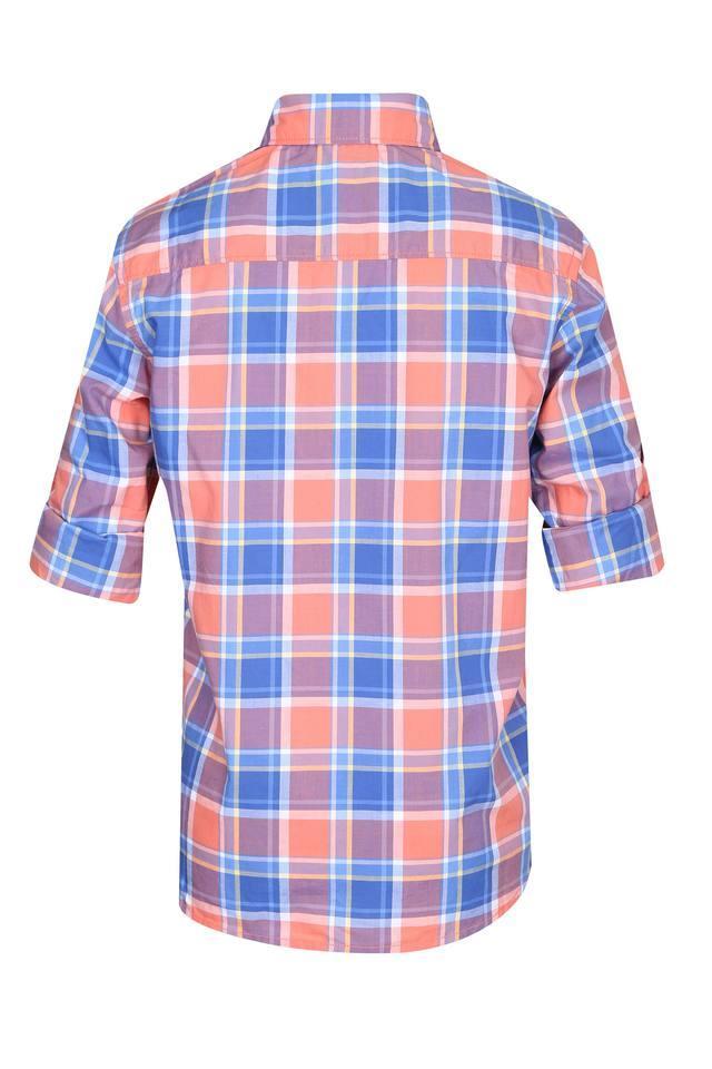 Boys Button Down Collar Checked Shirt