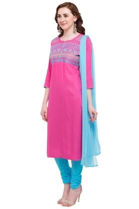 Womens Round Neck Slub Churidar Suit