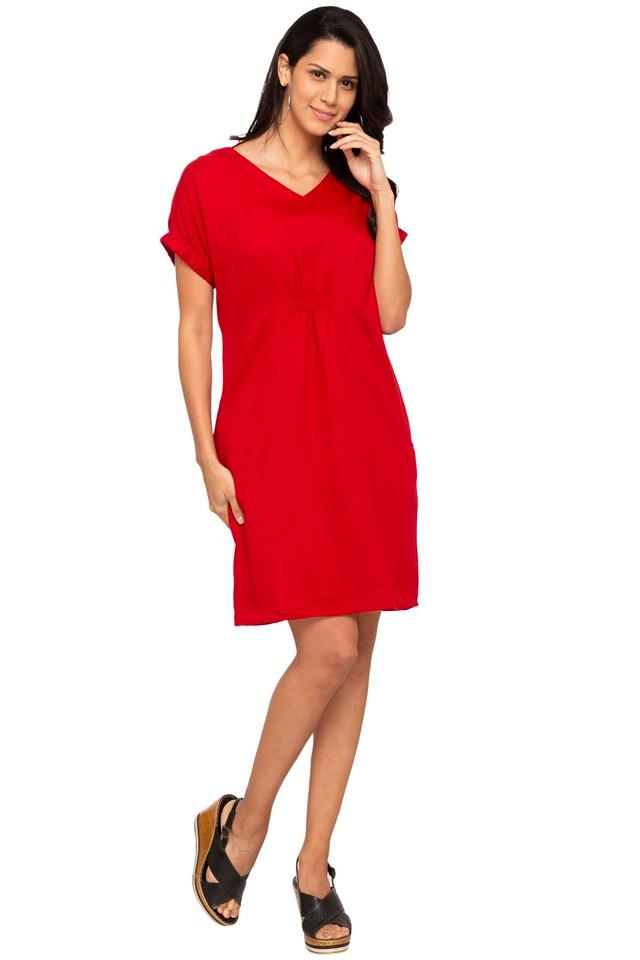 Womens V Neck Solid A-Line Dress