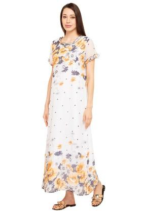 Womens Round Neck Floral Print Gown