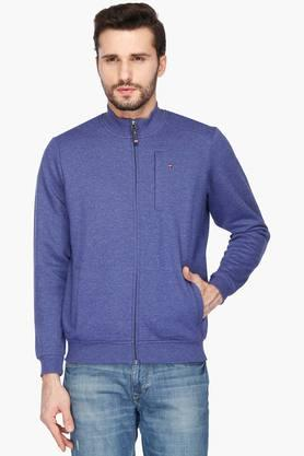 LOUIS PHILIPPE SPORTSMens Zip Through Neck Slub Sweatshirt