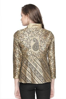 Womens Zip Through Neck Printed Reversible Jacket