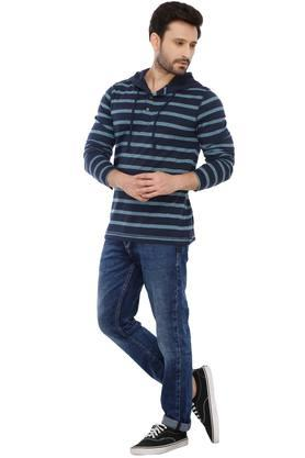 Mens Striped Hooded T-Shirt